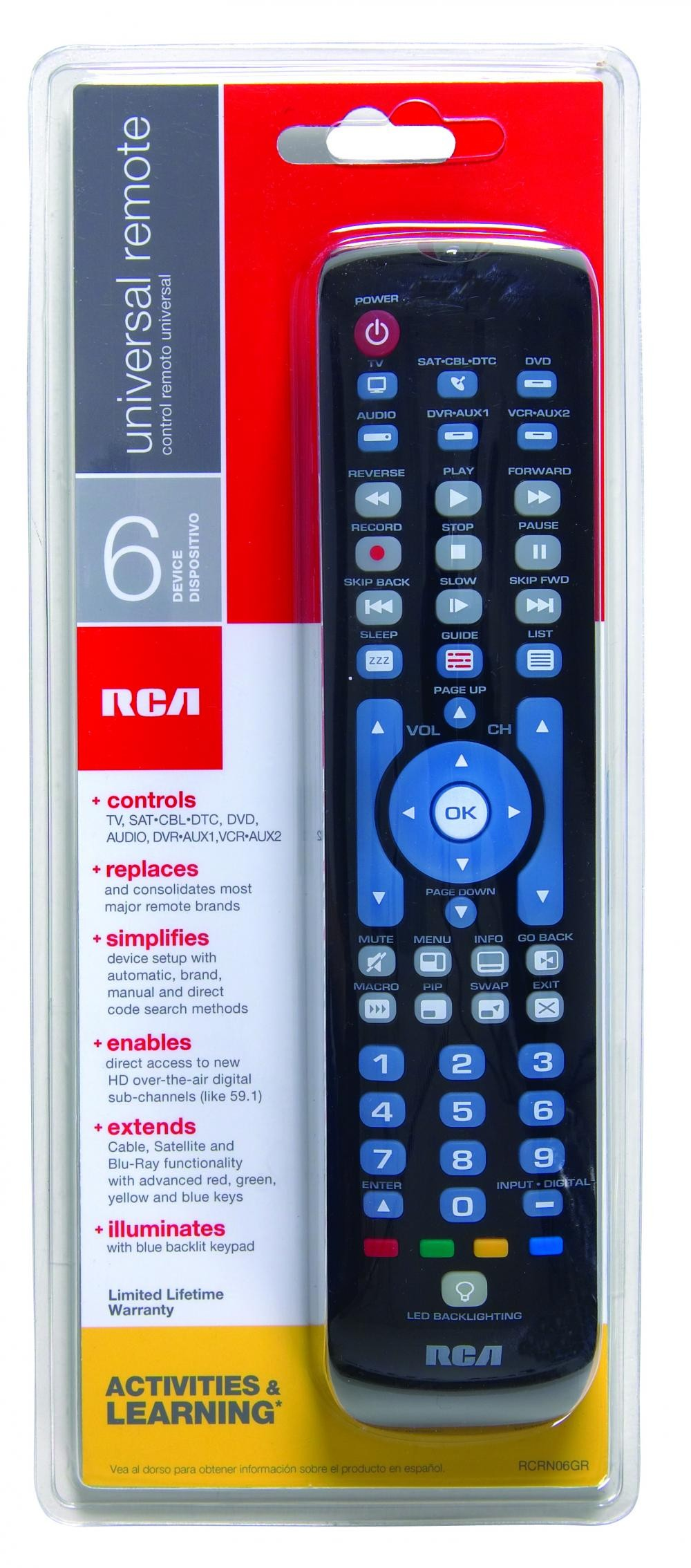 RCA RCRN06GR 6-Device Universal Remote Blue Backlit Keypad