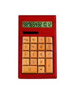IMPECCA CB1204 12-Digits Bamboo Custom Carved Desktop Calculator - Mahogany Color