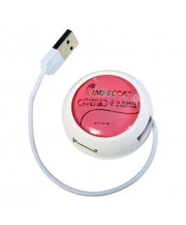 IMPECCA HB400 4-Port High Speed USB2.0 Hub - Pink