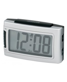 IMPECCA Battery Alarm Clock with Snooze - Silver