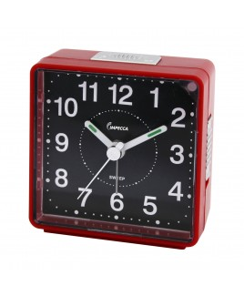 IMPECCA Travel Alarm Clock, Sweep Movement, Red