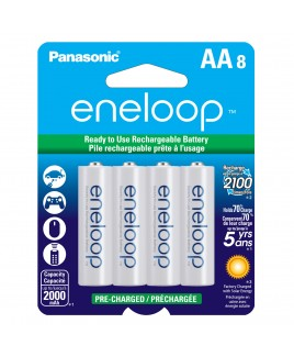 Panasonic eneloop AA 8-Pack 2000mAh Pre-Charged Batteries - Recharge up to 2100 times