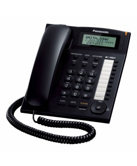 Panasonic 1-Line Corded Caller ID Integrated Telephone System with 10 One-Touch Dialer Stations, Black