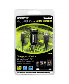 Xtreme 6ft Micro USB Cable & Car Charger
