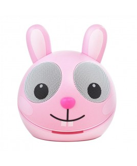 Zoo-Tunes Compact Portable Bluetooth Stereo Speaker, Pink Rabbit