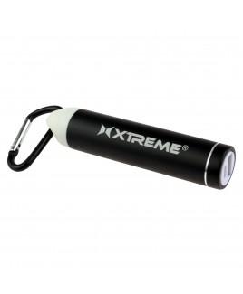 Xtreme 2600mAh Metallic Battery Bank with Carabiner, Black