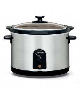 Crock Pot 6-Quart Round Crockery Cooker, Stainless Steel/Black