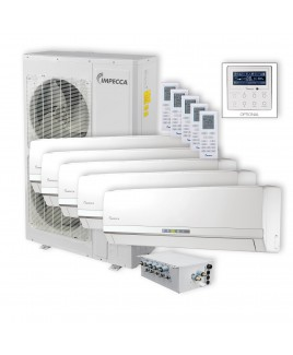 IMPECCA Flex Series 5 Wall-Mounted Indoor Ductless Split Units, and 52,900 BTU Outdoor Unit with Inverter Technology