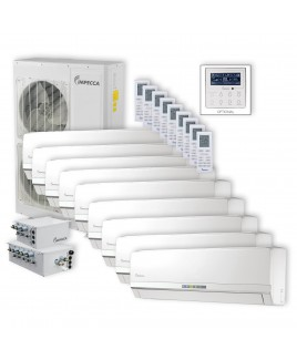 IMPECCA Flex Series 9 Wall-Mounted Indoor Ductless Split Units, and 52,900 BTU Outdoor Unit with Inverter Technology