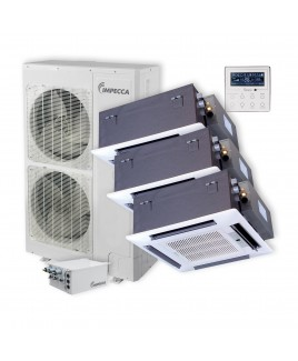 IMPECCA Flex Series 3 Ceiling Cassette Indoor Ductless Split Units, and 52,900 BTU Outdoor Unit with Inverter Technology