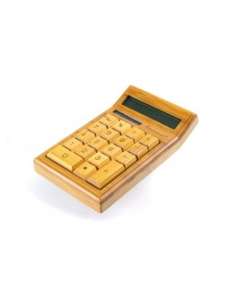 IMPECCA CB1200 12-Digits Bamboo Custom Carved Desktop Calculator