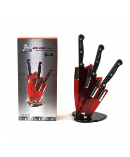 Cookinex 4-Piece Knife Set with Plexi Glass Stand
