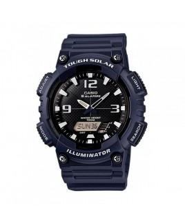 Casio 100M Water Resistant Self-Charging Solar Digital Analog Watch Matte Navy Resin Band with Black/White Face