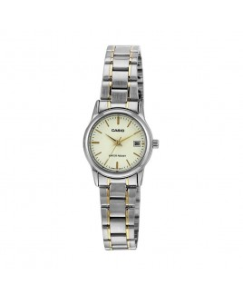 Casio Ladies 3-Hand Analog Water Resistant Watch with Gold Face and Gold ion Plated Stainless Steel Band