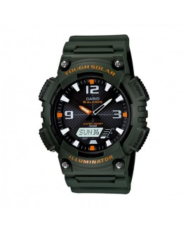 Casio 100M Water Resistant Self-Charging Solar Digital Analog Watch Green Resin Band with Black/Orange Face