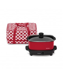 WestBend Versatility 5 Qt. Oblong Slow Cooker with Printed Thermal Tote - Red
