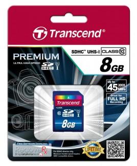 Transcend SDHC UHS-I Premium 8GB Class 10 Memory Card