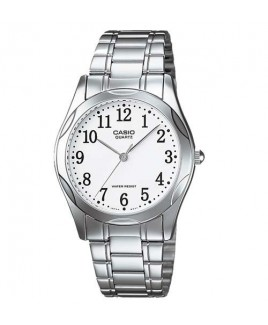 Casio MTP1275 3-Hand Analog Mens Fashion White Face Silver Metal Band Watch