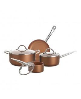 Culinary Edge 7 Piece Ceramic Titanium Copper Pan