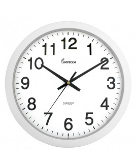 IMPECCA 14 Inch Sweep Movement Wall Clock, White Frame