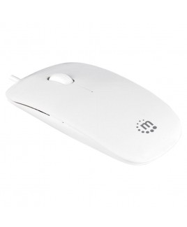 Manhattan Products Silhouette Optical 1000 dpi USB Mouse, Three Buttons with Scroll Wheel, White