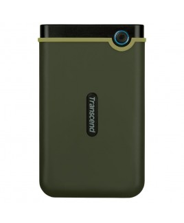 Transcend StoreJet 2TB Rugged USB 3.1 Slim External Portable Hard Drive, Military Green
