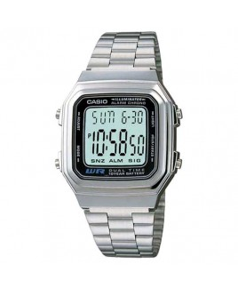 Casio A178 Men's Dual Time Digital Classic Metal Band Watch