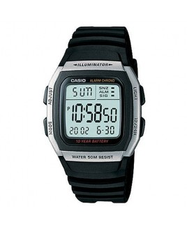 Casio W96H-1 Multi--function Alarm with Snooze Calendar LED Light w/Afterglow 50M WR