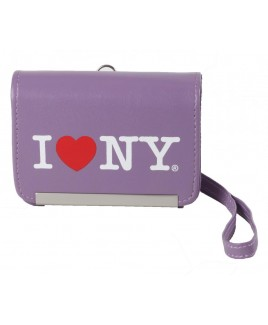 I Love NY DCS86 Compact Leather Digital Camera Case - Purple