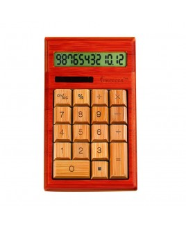 IMPECCA CB1205 12-Digits Bamboo Custom Carved Desktop Calculator - Cherry Color