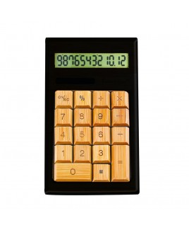 IMPECCA CB1206 12-Digits Bamboo Custom Carved Desktop Calculator - Black/Ivy