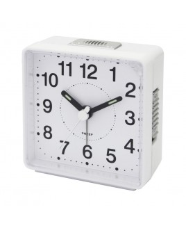 IMPECCA Travel Alarm Clock, Sweep Movement, White