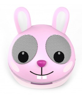Zoo-Tunes Pink Rabbit Compact Portable Character Stereo Speaker