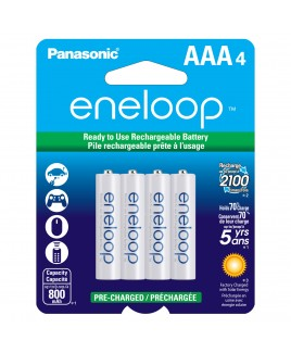 Panasonic eneloop AAA 4-Pack 800mAh Pre-Charged Batteries - Recharge up to 2100 times