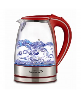 Brentwood 1.7L Tempered Glass Tea Kettle - Red