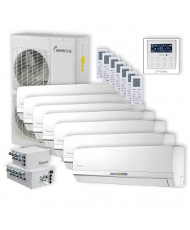 IMPECCA Flex Series 7 Wall-Mounted Indoor Ductless Split Units, and 52,900 BTU Outdoor Unit with Inverter Technology
