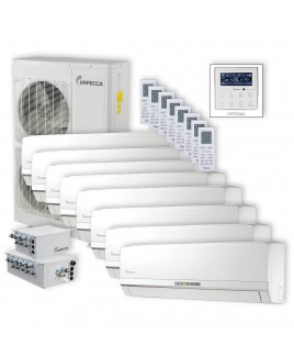 IMPECCA Flex Series 8 Wall-Mounted Indoor Ductless Split Units, and 52,900 BTU Outdoor Unit with Inverter Technology