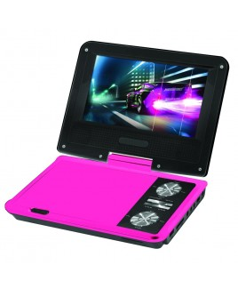 IMPECCA 7 Inch Swivel Portable DVD Player, Pink