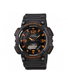 Casio 100M Water Resistant Self-Charging Solar Digital Analog Watch Matte Gray Resin Band with Black/Orange Face
