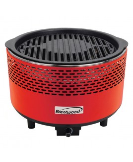 Brentwood Round Portable Smokeless BBQ - Red